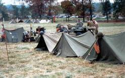 Line of Pup Tents set up at a Living History display.