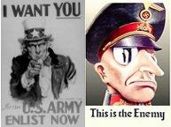 WW2 posters of Uncle Sam and a characature of a Nazi officer takes you to sites maintained by WWII reenacting groups portraying military units of various countries.