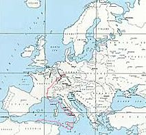 Map of European and Mediteranean Thearter of Operation; Sicily, Naples, Salerno, Foggia, Anzio, Rome, Arno, Italy, Southern, France, Alsace, Ardennes, Central, Europe, Germany